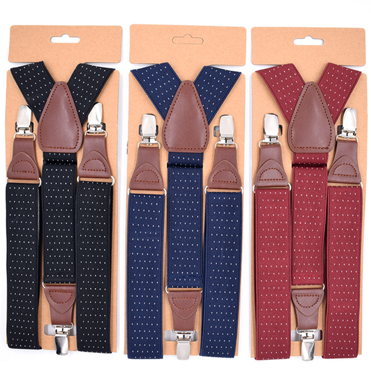 Cross Border Supply Of Goods Men 3 Clip Suspender Strap Adult Jacquard Elastic Cord Suit Pants Suspender Strap Clip A Generation