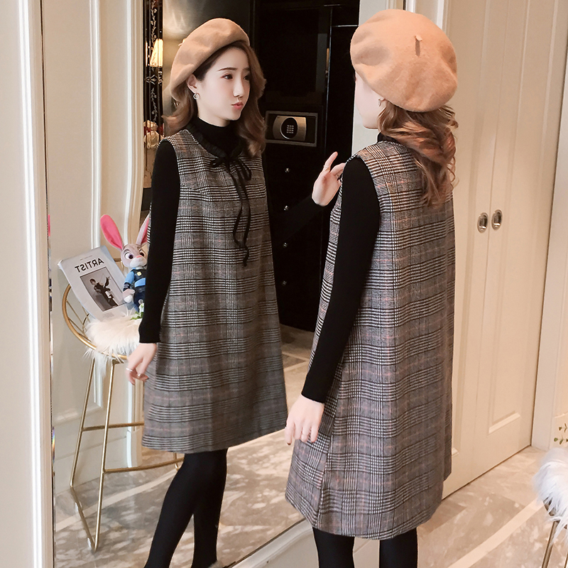 6611# 2PCS/Set Autumn Winter Korean Fashion Maternity Dress Plaid Vest Dress + Black Knitted Shirts For Pregnant Women Pregnancy