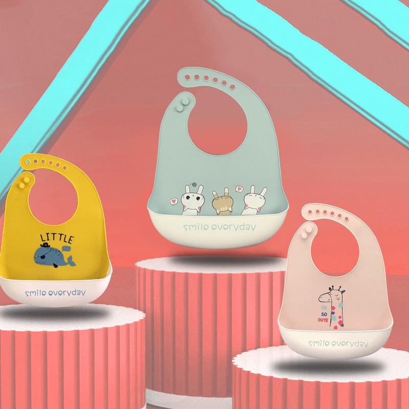 2021 Cute Baby Bibs Waterproof Silicone Bib Infant Toddler Feeding Saliva Towel Cartoon Adjustable Children Apron with Pocket