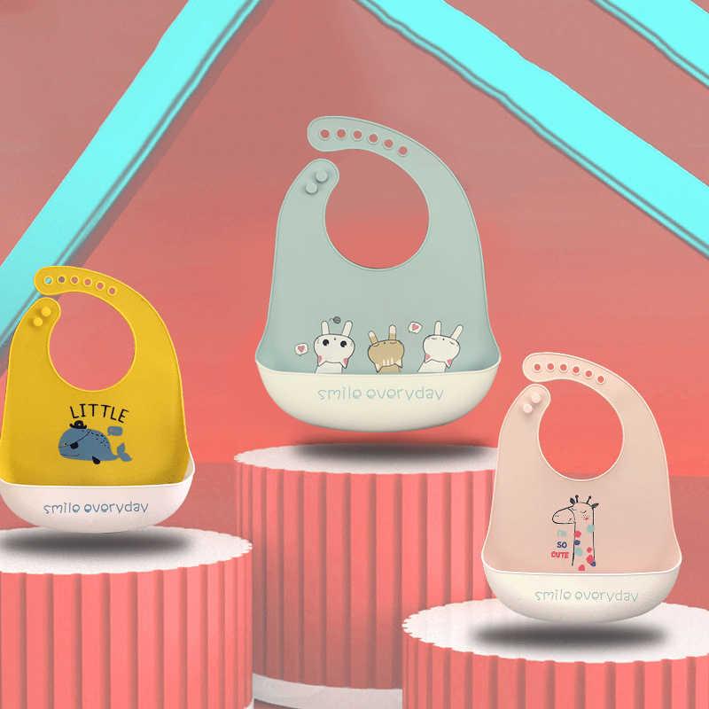 Recién Nacido Bebé Baberos para Almorzar de Silicona Impermeable Bebé Niños Lindos Animales Baberos libre de BPA