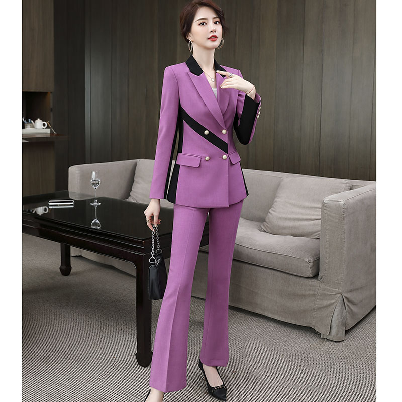Fashion Pant  Suit for Business  Women office Work Wear Contrast Panel Lilac Yellow Pink Slim Fit Jacket Pant 2 pieces Set