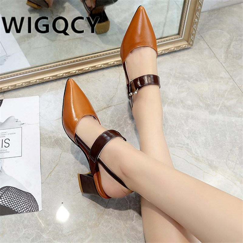2019 Spring New Hollow Coarse Sandals High-heeled Shallow Mouth Pointed Baotou Shoes Work Shoes Women Female Sexy High Heels X21
