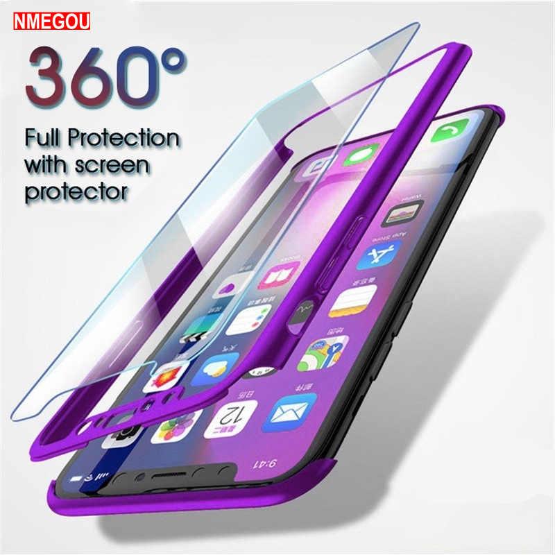 360 Полный корпус защитный чехол + закаленное стекло для iPhone 5 5S SE 6 S 6 S 7 8 Plus X XR XS Max Coque полное покрытие ударопрочный чехол