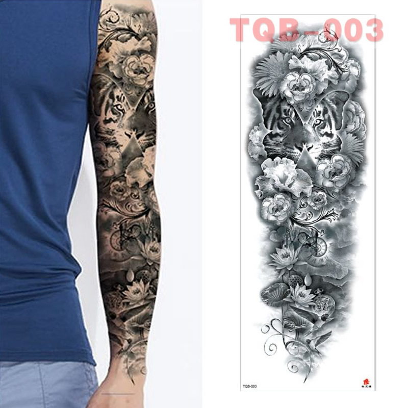 Full Flowers Large Arm Sleeves Waterproof Temporary Tattoo Sticker Man Women Fake Color Totem Tattoo Stickers Body Leg Arm TQB03