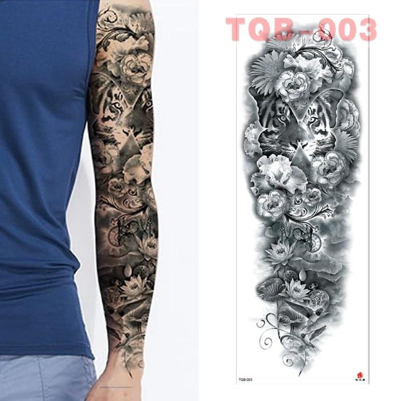 Full Flowers Large Arm Sleeves Waterproof Temporary Tattoo Sticker Man Women Fake Color Totem Tattoo Stickers Body Leg Arm TQB03