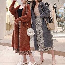 Suéter largo de Cachemira Otoño Invierno para Mujer abrigo de punto Cardigan cuello en V Pull Mujer Casual más tamaño Sueter Mujer Truien damas