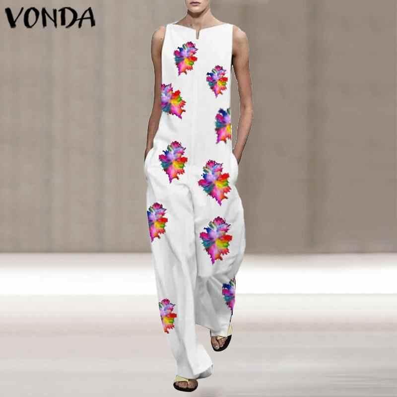 Vonda 2020 verão sem mangas macacão das mulheres macacões casuais vintage floral impresso longo playsuits macacão boêmio pantalons