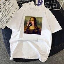 Mulheres t-shirts mona lisa pintura de alta qualidade óleo artístico oversized t camisa moda harajuku estética ulzzang roupas coreanas