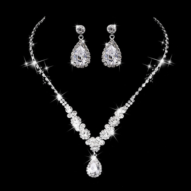 Free Shipping OL Teardrop Pendant Necklace Earrings Jewelry Sets Bridal Bride Wedding Engagement Party Dress Ornaments