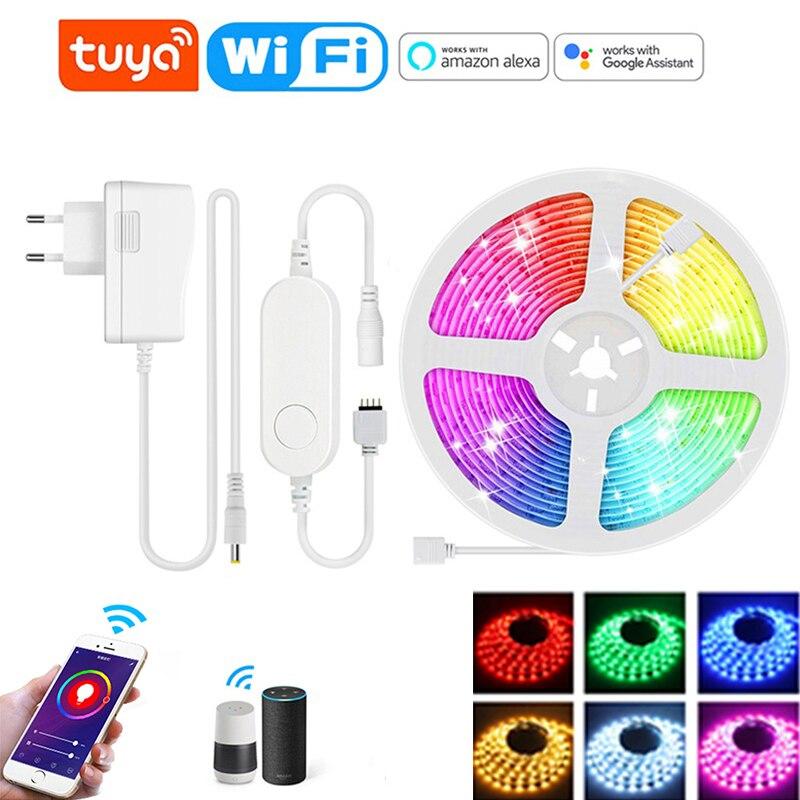 1/2/3/4/5/10/15 м цветных (RGB) светодиодных лент светильник с Tuya Smart Life APP Wi-Fi контроллер 12V 5050 RGB лампа лента работает с Alexa Google Home