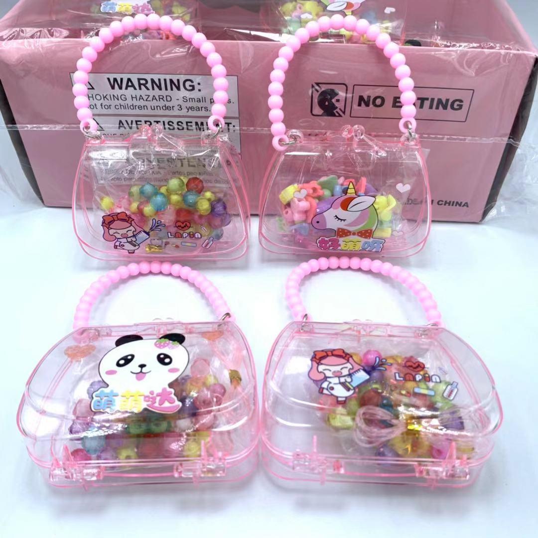 Children'S Educational Toy DIY Beaded Bracelet Handmade Wear Beads Unicorn Handbag GIRL'S Bracelets Necklace Small Gifts