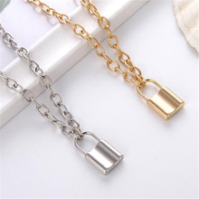 Fashion Lock Chain Necklace Punk 90s Link Chain Silver Color Padlock Pendant Necklace Women Fashion Gothic Jewelry 2020 New double layer chain necklace punk 90s chain silver color pendant necklace women aesthetic jewelry xl252