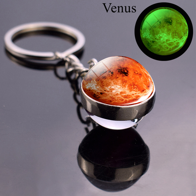 Luminous Moon Glass Ball Key Chain Earth Sun Jupiter Planet Keychain Galaxy Solar System Jewelry Glow The Dark Pendant Gift 4