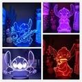 Disney мультфильм 3D лампы из мультфильма «Лило Стич» фигурку светодиодный ночной Светильник аниме акрил 7 цветов изменить настольная лампа св...