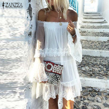 Bohemian Lace Dress Women's Summer Sundress ZANZEA 2020 Casual Off Shoulder Knee Length Vestidos Female Flare Sleeve Ruffle Robe burgundy ruffle design off shoulder mini dress