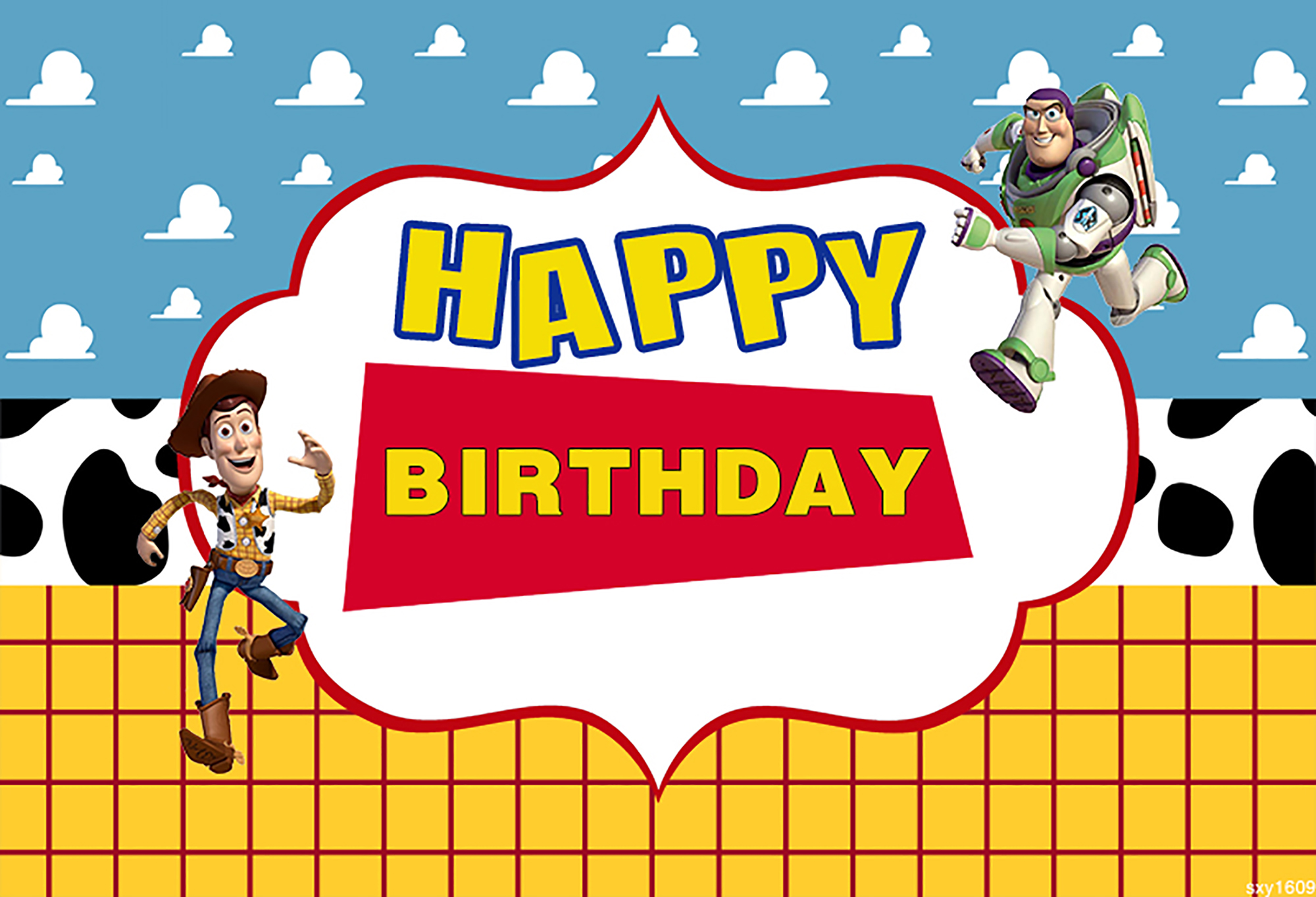 Toy Story Birthday Banner Personalized Party Backdrop PRINTED AND SHIPPED