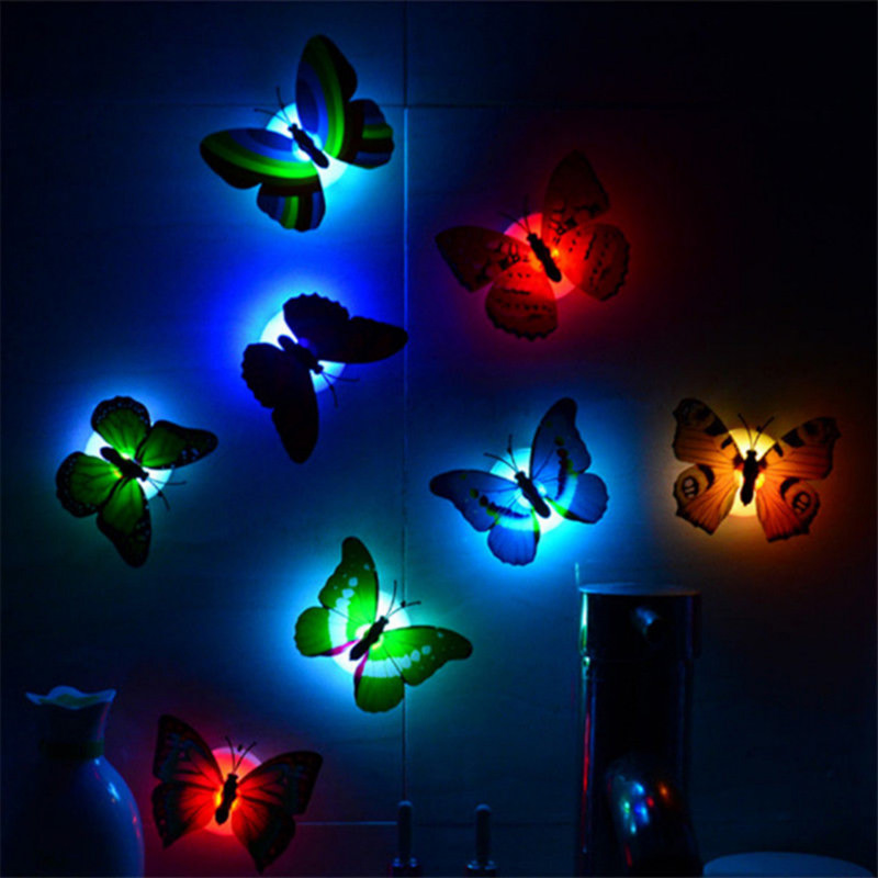 5pcs Colorful Butterfly LED Night Light Lamp Home Room Wedding Party Desk Decor Wall Nightlights With Suction Pad Children Gifts