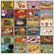 [Kelly66] comida perrito caliente hamburguesas pizzas DADS BBQ Zone Metal Sign Tin Poster decoración para el hogar Bar pared arte pintura 20*30 CM tamaño F-07(China)