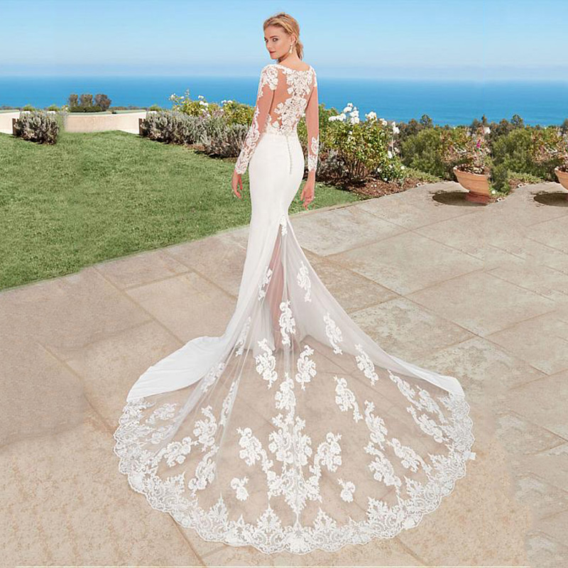 SoDigne Mermaid Boho Wedding Dress Long Sleeves 2019 Appliques Lace Bridal Gown Back Button Scoop Neck Wedding Gowns With Train