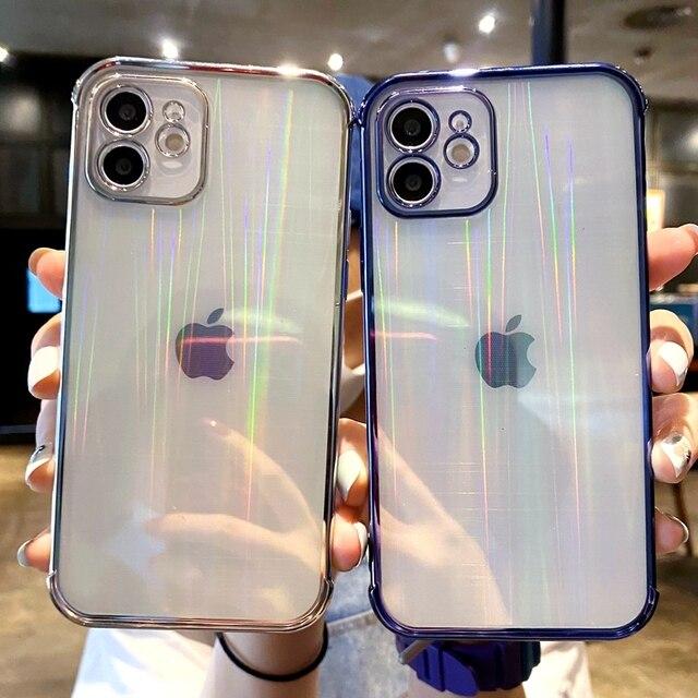 بالكهرباء شفافة ليزر حافظة هاتف آيفون 11 12 برو ماكس XS X XR ماكس ميني 7 8 Plus SE 2020 لينة الوفير الغطاء الخلفي