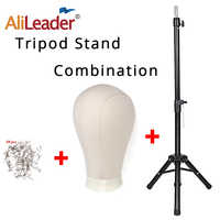 Alileader Cheap 125 Cm Adjustable Mannequin Head Tripod Black 21-25inch  Canvas Mannequin Head Wig Stand Tripod Wig Making Kit