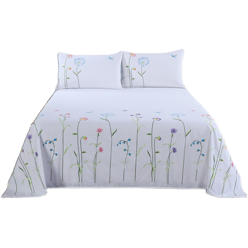 Cotton twill embroidered bed linen bedding set Bed Sheets Soft Hypoallergenic Wrinkle Fade 3 Piece Bedding Sets Full White