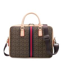 купить Laptop Briefcase Business Briefcase Shoulder Bag Leather Messenger Bag Computer Laptop Handbags Travel Bag handbag For Men Women дешево