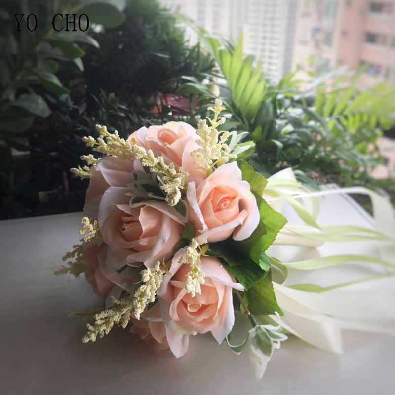 يو تشو زهرة اصطناعية باقة الزفاف الحرير الورود الوردي الزهور الاصطناعية لحزب الوطن عرس الربيع الديكور وهمية الزهور