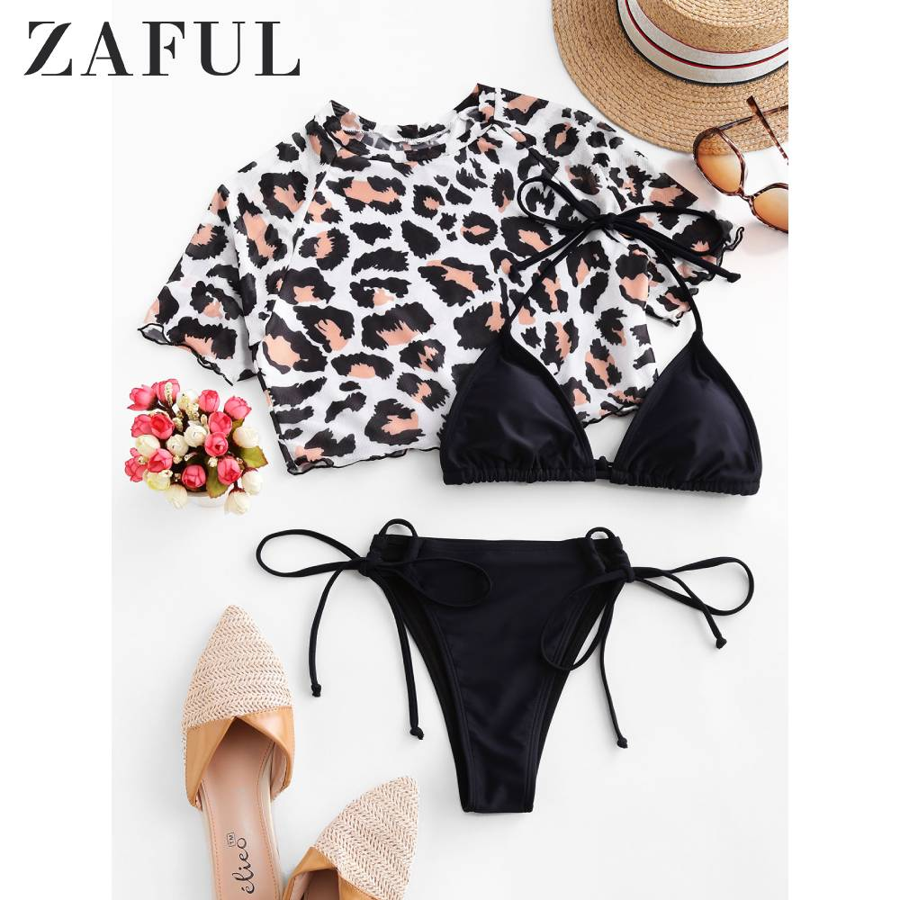 ZAFUL Women Leopard Halter Mesh Three Piece Swimsuit Wire Free Low Waisted Removable Padded Tie Side Triangle Bikini Sets Sexy