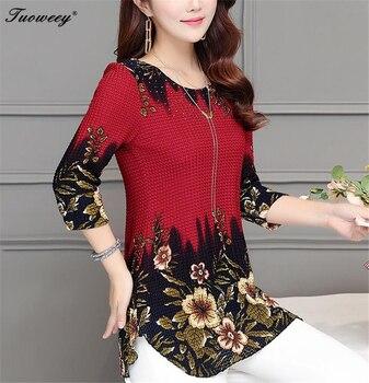 2020 New Arrival Fashion Summer Three Quarter Slim floral long Shirt Female Casual Slim Color Plus Size elegant Printed Blouse 4