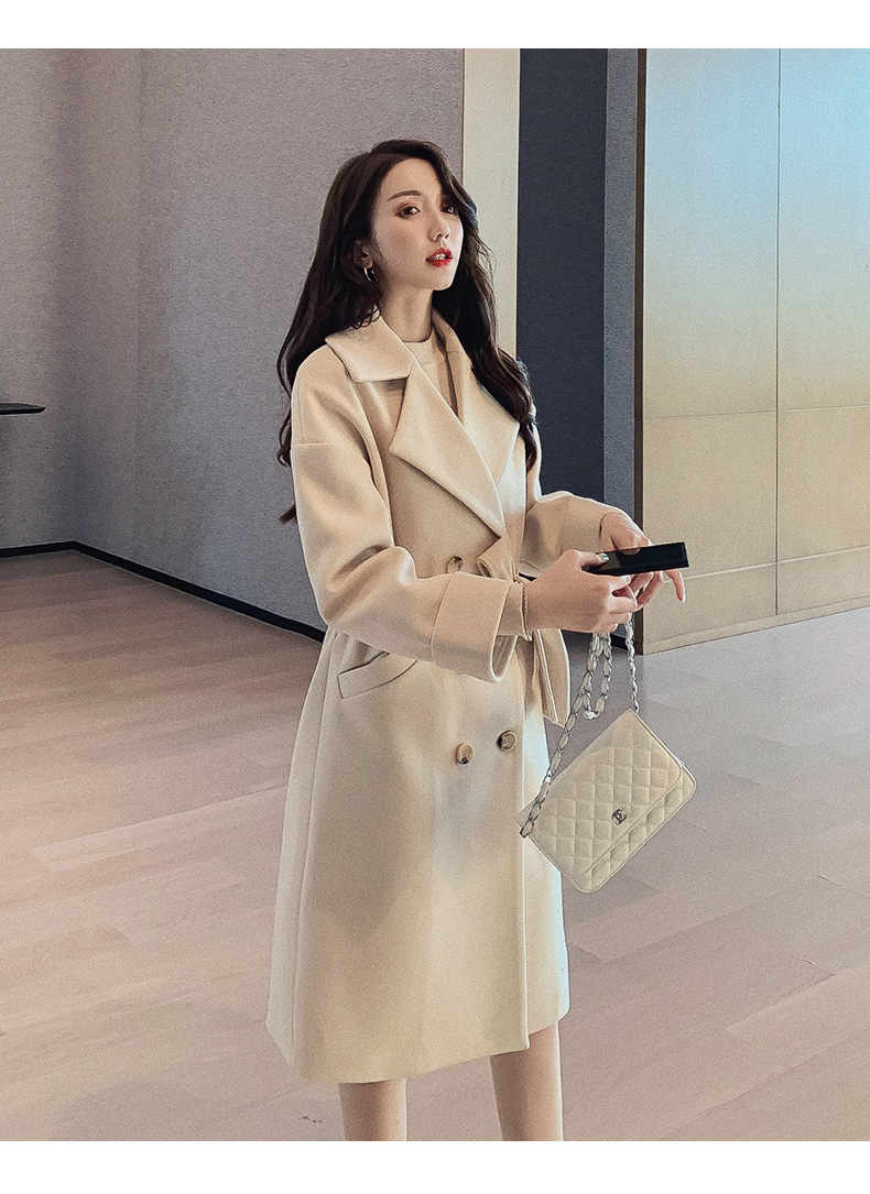 Autumn winter New Women's Casual wool blend trench coat Double Breasted Long coat with belt
