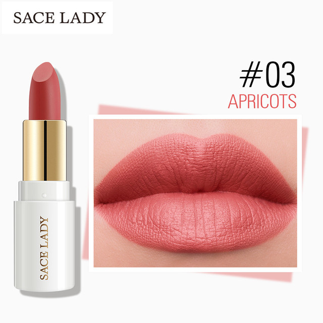 SACE LADY 12 Colors Lips Makeup Waterproof Silky Matte Lipstick Long Lasting Moisture Lipstick Matte Red Lip stick Cosmetic