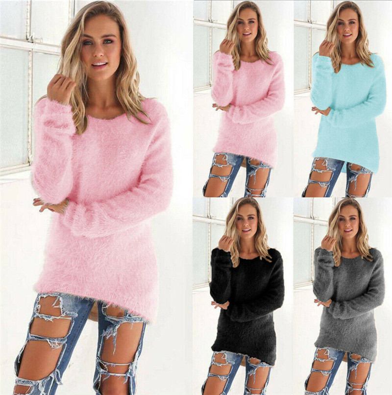 2019 New Fashion Women Long Sleeve Fleece Loose Sweater Outwear Winter Warm Sweater Casual Jumper Pullover O-neck Tops Sweater
