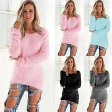 2019 New Fashion Women Long Sleeve Fleece Loose Sweater Outwear Winter Warm