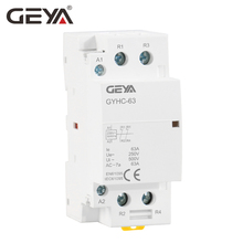 Free Shipping GEYA 2P 63A 2NC or 2NO Household Modular AC Contactor DIN Rail Type AC220V 230V Automatic недорого