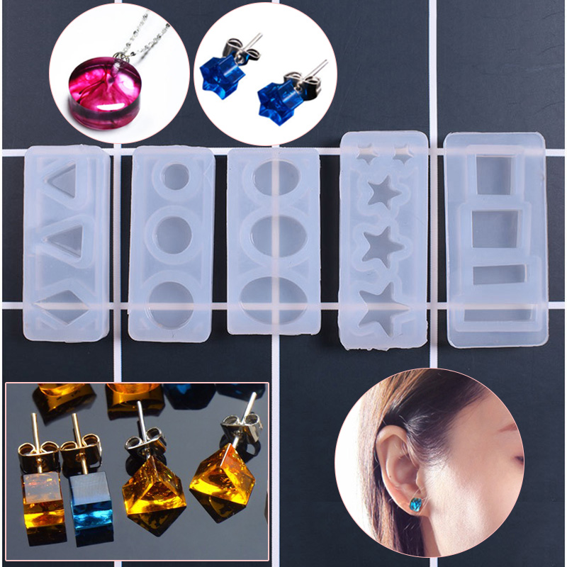 1pcs DIY Resin Pendant Necklace Pendant Mold Resin Molds Oval Moon Star Heart Rectangle Liquid Silicone Mold