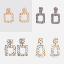 Ztech ZA Simulated-pearl Drop Earrings Statement Square Crystal Metal Female Wedding Party Gifts Accessories Brincos