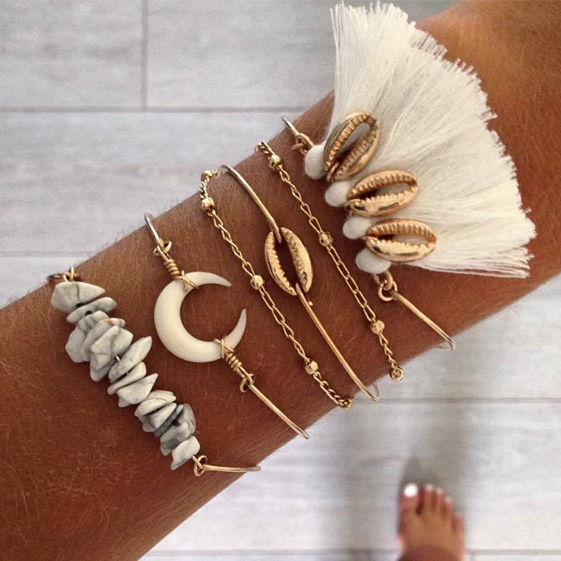 Boho Shell Natural Stone Horn Bracelet Set For Women Gold Tassel Bohemian Bangles Trendy Handmade Charm Jewelry 2019 New Summer