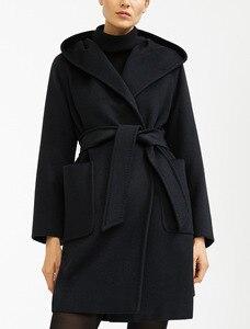 Image 4 - Elegante Sólida Longo Casaco de Lã Das Mulheres Longo Fino Outono Inverno Jaqueta Casaco de Cashmere Quente Bolsos Preto Vermelho Do Vintage 2019