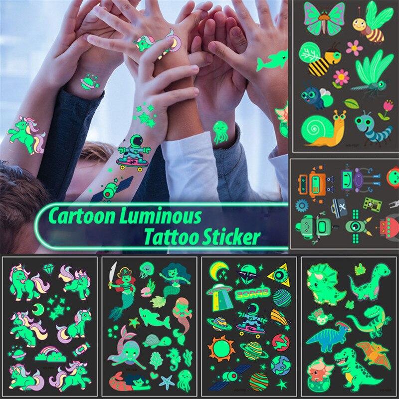 1PC Wasserdichte Tattoo Aufkleber Leucht Kind Kid Temporäre Gefälschte Tattoos Glow Paste auf Gesicht Arm Bein für Kinder Körper aufkleber