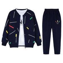 3 sztuk chłopców odzież zestaw płaszcz z suwakiem koszula z długim rękawem spodnie stroje sportowe dla chłopców wiosna jesień Casual ubrania dla dzieci dla malucha Teen Boy
