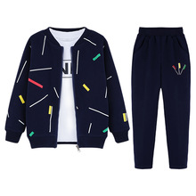 3pcs Boys Clothing Set Zipper Coat Long Sleeve Shirt Pant Boys Sport Suits Spring Fall Casual Kids Clothes for Toddler Teen Boy
