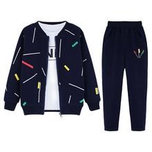 3pcs Boys Clothing Set Zipper Coat Long Sleeve Shirt Pant
