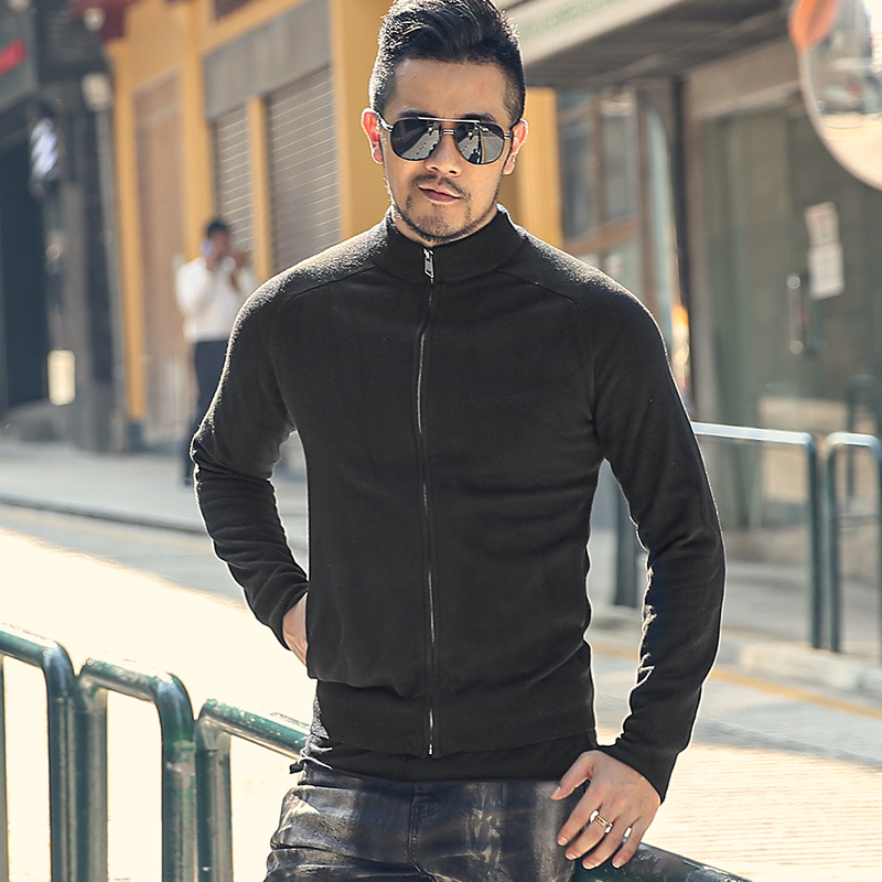 Autumn And Winter New Black Mock Neck Men's Zipper Cardigan Sweater Men's Elastic Slim Knit J799