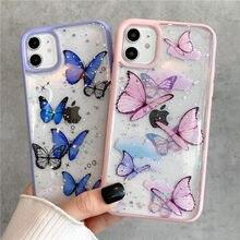 Bling glitter borboleta caso de telefone para iphone 11 pro max xr x xs max 7 8 plus se 2020 transparente capa de silicone macio