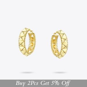 Image 2 - ENFASHION Punk Pyramid Hoop Earrings For Women Gold Color Small Circle Hoops Earings Fashion Jewelry Aros De Moda 2020 E191102
