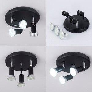 Image 2 - Led الثريا تدوير قابل للتعديل مصباح إضاءة يتم تثبيته بالسقف الثريا أضواء لغرفة المعيشة غرفة الطعام المطبخ الأسود والأبيض والفضة