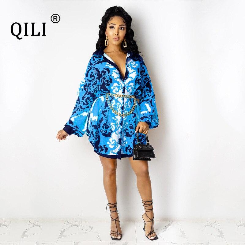 Купить qili autumn shirt dress for women full sleeve print gold chain