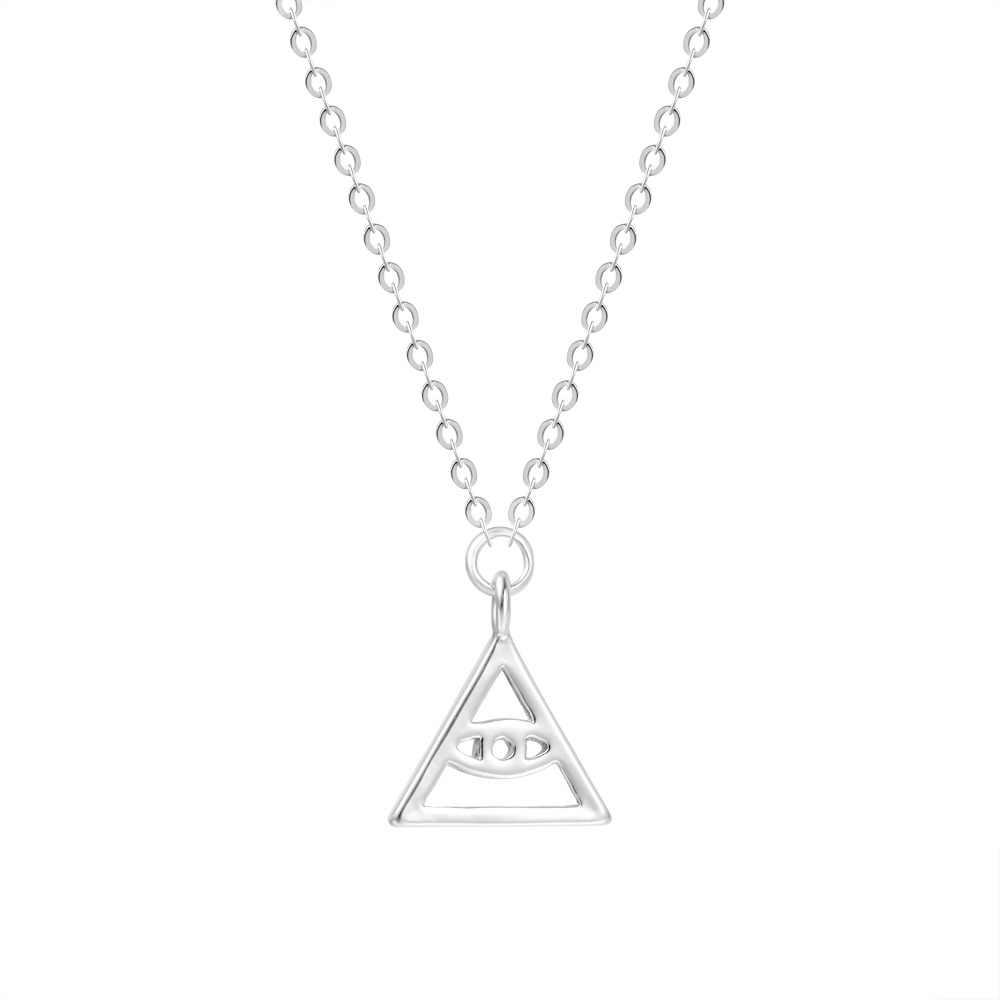 Turecki naszyjnik oko proroka złoty metal srebrny łańcuszek okrągły wisiorek mały Traingle naszyjniki dla kobiet moda biżuteria