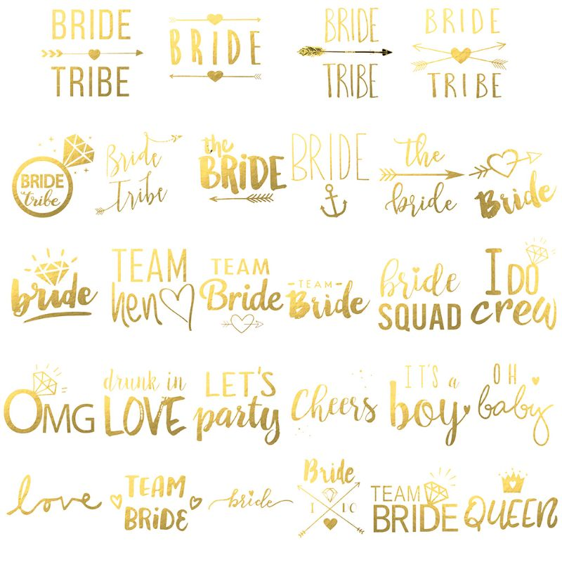 55x55mm Bridal Team Bridesmaid Metallic Golden Temporary Tattoo Sticker Hen Night Bachelorette Party Wedding Decoration Supplies